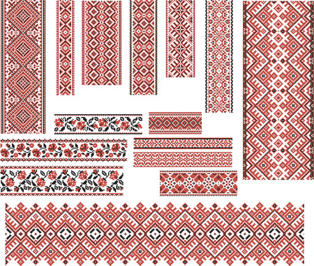 Set of Ukrainian ethnic patterns for embroidery stitch in red and black. Editable.