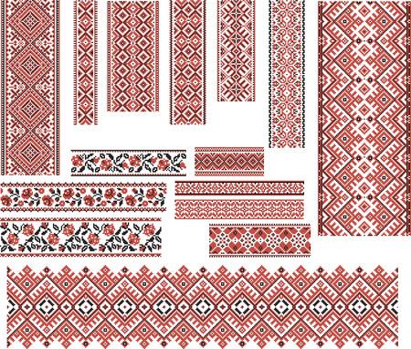 Zestaw wzorów etnicznych ukraińskich haftu krzyżykowego w na czerwony i czarny. Edytowalne. Ilustracje wektorowe
