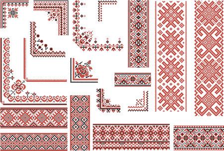 Conjunto de patrones étnicos editables para la puntada del bordado en rojo y negro. Bordes y esquinas.