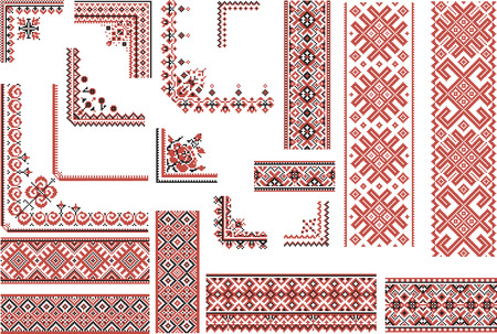 Set of editable ethnic patterns for embroidery stitch in red and black. Borders and corners. Ilustração