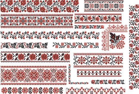broderie: Ensemble de motifs ethniques modifiables pour point de broderie en rouge et noir. Motifs floraux.