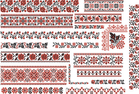 cross: Set of editable ethnic patterns for embroidery stitch in red and black. Floral motives.