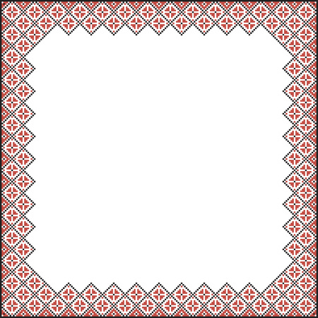 Square pattern for embroidery. Red and black cross stitches.