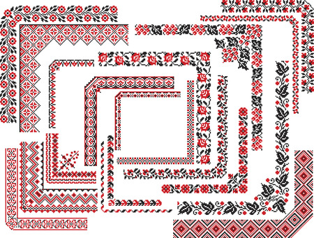 Set of editable ethnic patterns for embroidery stitch in red and black. Corners, frames.