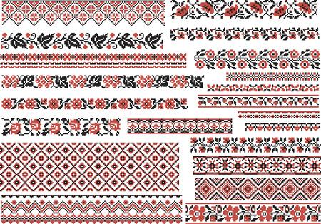 bordados: Conjunto de patrones étnicos editables para la puntada de bordado en rojo y negro