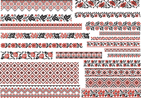 broderie: Ensemble de motifs ethniques modifiables pour point de broderie en rouge et noir Illustration