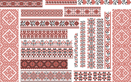 cross stitch: Set of editable ethnic patterns for embroidery stitch in red and black