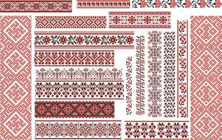 Zestaw edytowalnych wzorów haftu krzyżykowego etnicznych na w czerwone i czarne Ilustracje wektorowe