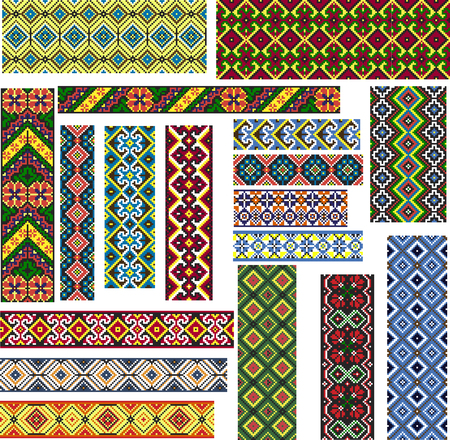 Set of seamless editable colorful geometric ethnic patterns for embroidery stitch.