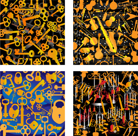 Set of 4 seamless patterns: with music symbols, with keys, with keys and locks, with candles. Illustration