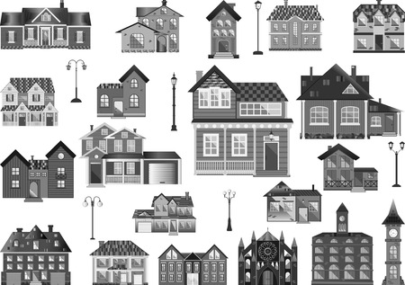 Set of flat town houses and buildings, clip-art in grayscale.