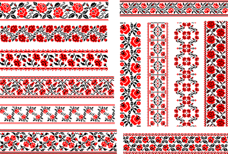 Set of 12 editable red-and-black seamless Ukrainian ethnic patterns for embroidery stitch with roses.