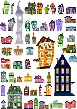Set of editable colorful cartoon houses, clip-art Vector illustration. Vettoriali