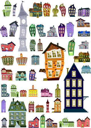 Set of editable colorful cartoon houses, clip-art Vector illustration. Ilustracja