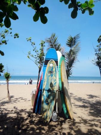 kuta: Surfboards at Kuta Beach Editorial