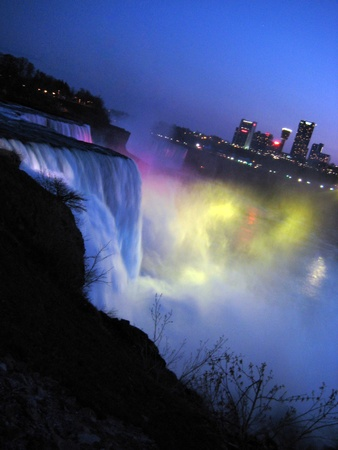 Niagara Falls at night. View from New York. photo