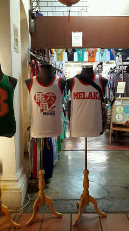 Tank tops displayed outside a store at Malacca, Malaysia