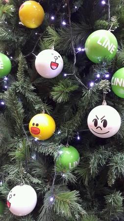 Christmas tree ornaments of LINE characters at Pavilion, Kuala Lumpur