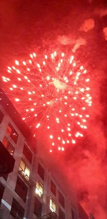 conjunction: Fireworks at Publika in conjunction of a new year 2014 Stock Photo