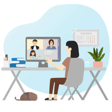 Work from home and new normal concept. Woman contact friend via video conference. They discussing about meeting.