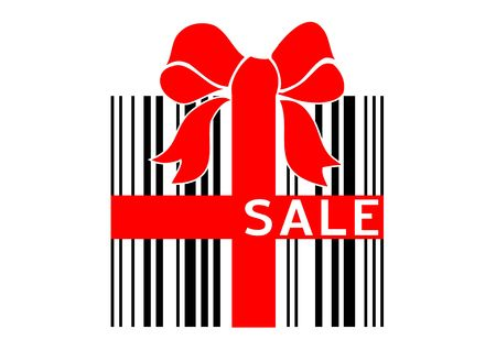 Vector illustration of bar code box - present with sale sign illustration