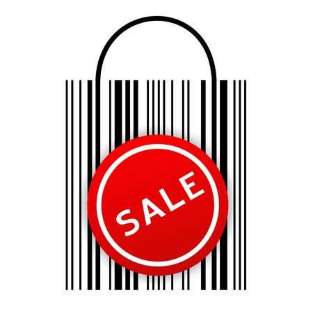 Vector illustration of barcode shopping bag with Sale sticker  illustration