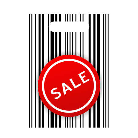 Vector illustration of shopping barcode bag with sale sticker illustration