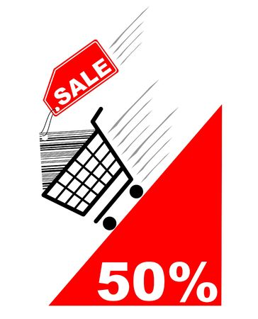 Shopping card with sale label and pecentual sale - vector photo