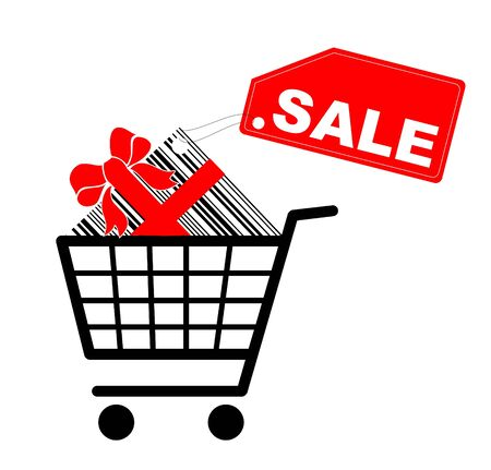 Shopping cart with present and sale label - vector photo
