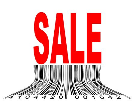 Vector illustration of thawing barcode under the Sale illustration