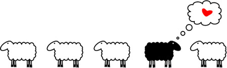 sheep clipart: Sheep in love