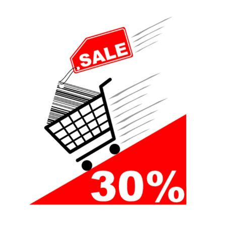 Shopping cart with sale label and pecentual sale - vector Vector