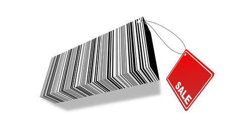 3d ilustration of barcode with Sale label photo