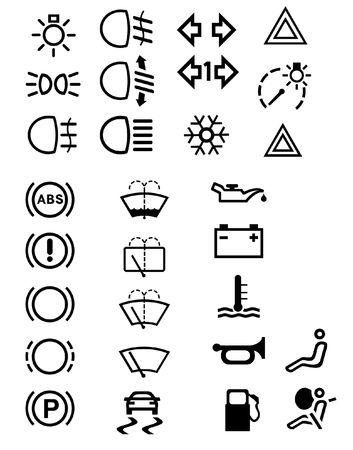 Vector illustrations of many car symbols