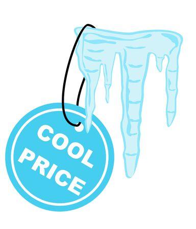 sopel lodu: Vector ilustracji - Icicle z Cool cena etykiety