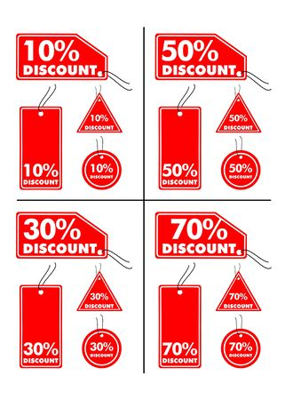 70: Vector illustrations of Discount labels (10%, 30%, 50% and 70%)