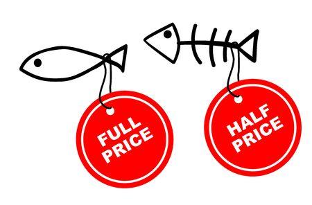 fish and chips: Vector ilustraciones de peces con las etiquetas de precio