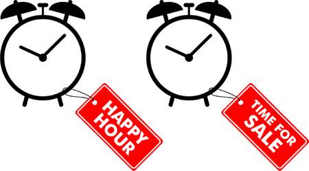 happy hour: Alarm clocks with labels Illustration