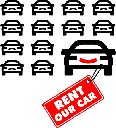 wit: Cars wit label Rent our car Illustration