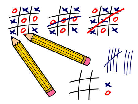 cross match: Vector illustratin of pencils and tic tac toe game