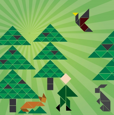 tangram: Tangram forrest with animals