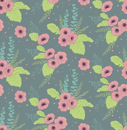 anemones: Seamless pattern with anemones eucalyptus and leaves