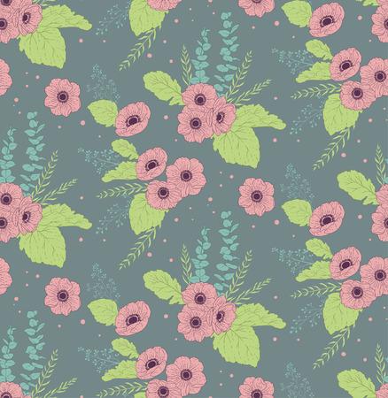 eucalyptus: Seamless pattern with anemones eucalyptus and leaves