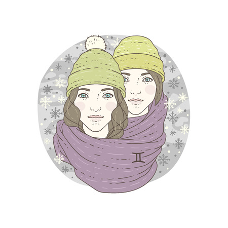 Gemini zodiac sign. Winter season illustration. Vector illustration isolated on white.