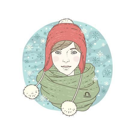 libra zodiac: Libra zodiac sign. Winter season illustration. Vector illustration isolated on white. Illustration