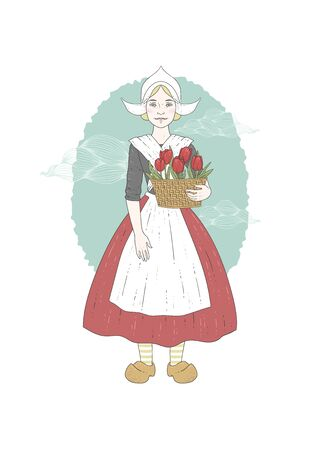 dutch girl: Woman in traditional costume of Netherlands with clouds on the background. Vector illustration Illustration