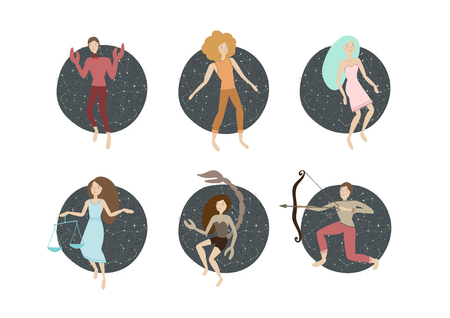 zodiac signs. vector illustration. cancer, leo, virgo, libra, scorpio, sagittarius Illustration