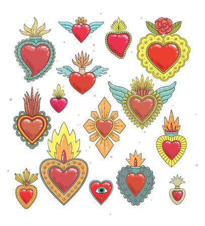 Ensemble de couleurs du coeur mexicain sacré