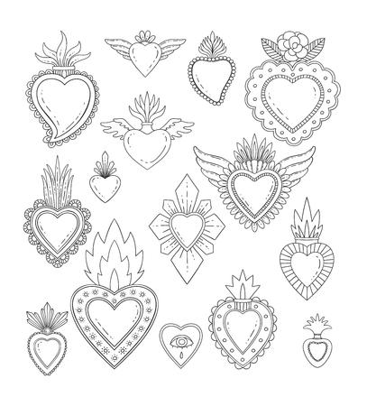 Heilig Mexicaans hart ingesteld Stock Illustratie