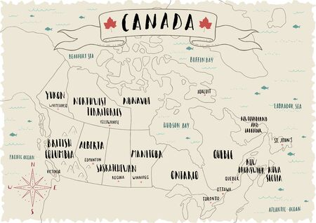 Map of Canada. Line illustration.